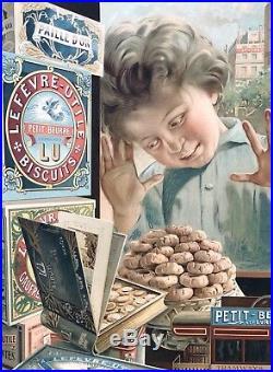 LU / Lefèvre-Utile Les Enfants derrière la Vitrine / Panonceau lithographié
