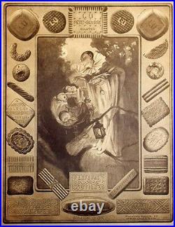 LU PETIT-BEURRE Affiche originale entoilée Typo-litho CREPIENE 1927 66x84cm