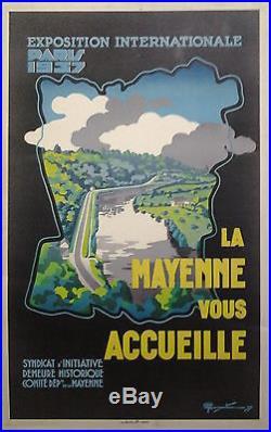 La Mayenne vous accueille Expo Inter Paris 1937 AFFICHE ORIGINALE ANCIENNE/R155