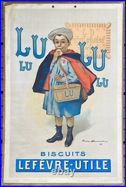 Lefèvre-Utile Le Petit Écolier de F. Bouisset panonceau Lithographié 1900 / LU