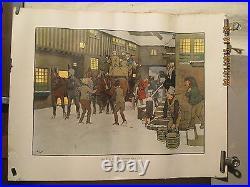 Litho Cecil Aldin Scene D'hiver Attelage Noel