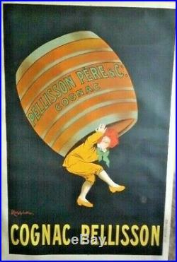 Lithographie originale Cognac Pelisson Cappiello entoilée