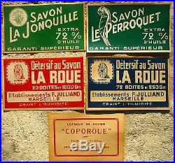 Lot De 5 Affichettes Anciennes Savon De Marseille
