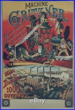 MACHINE à COUDRE GRITZNER Affiche originale entoilée Litho RILLE 70x100cm