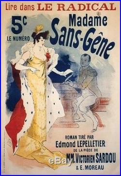 MADAME SANS-GÊNE Affiche originale entoilée Litho Jules CHERET 1894 91x127cm