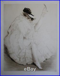 MADEMOISELLE CYCLONE Eau-forte entoilée et signée par Edgar CHAHINE 1907