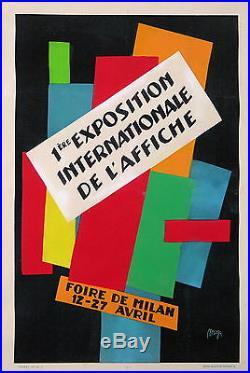 MAGA AFFICHE ANCIENNE 1ere EXPOSITION INTERNATIONALE DE L'AFFICHE DE MILAN