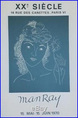 MAN RAY EXPOSITION XXe SIECLE PARIS 1970 Affiche originale entoilée MOURLOT