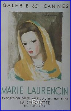 MARIE LAURENCIN EXPO GALERIE 65 CANNES 1962 Affiche originale entoilée Litho