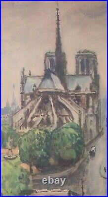 MARQUET SNCF 1950 PARIS NOTRE-DAME 100x61 CM AFFICHE ENTOILEE