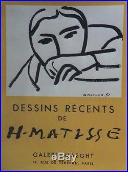 MATISSE DESSINS RECENTS /EXPOSITION MAEGHT 1952 Affiche originale entoilée