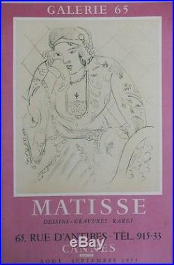 MATISSE EXPOSITION CANNES 1955 Affiche originale entoilée Litho MOURLOT