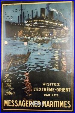 MESSAGERIES MARITIMES Affiche originale entoilée Litho LACHEVRE 1928 42x61cm