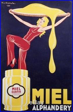 MIEL ALPHANDERY Affiche originale entoilée Litho G. GORDE 1932 84x123cm