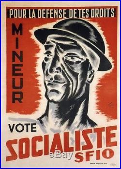 MINEUR VOTE SOCIALISTE SFIO Affiche originale entoilée Litho ANRI UBAIR 1946