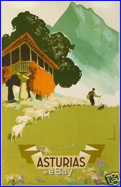 MORELL AFFICHE TOURISME ANCIENNE ESPAGNE ASTURIAS LES ASTURIES Circa 1946