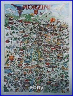 MORZINE Affiche originale entoilée années 80 63x81cm