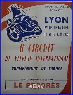 MOTO LYON championnat de France 1955 AFFICHE ANCIENNE ORIGINALE /AF2