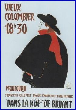 MOULOUDJI DANS LA RUE DE BRUANT Affiche originale entoilée TOULOUSE-LAUTREC