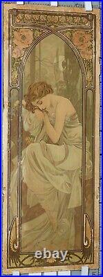 MUCHA ALPHONSE LITHOGRAPHIE REPOS DE LA NUIT 1899 107,5x40,5 cm