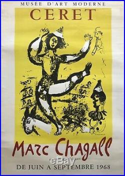 Marc Chagall Affiche Lithographie 1968 Exposition Céret Mourlot Sorlier 2000 Ex