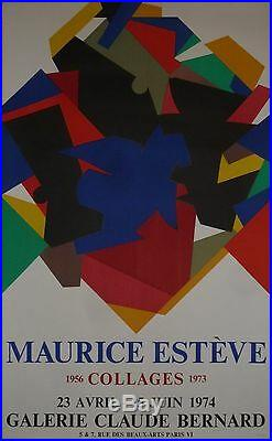 Maurice Esteve Ancienne Affiche Lithographie 1974 Galerie Claude Bernard Mourlot