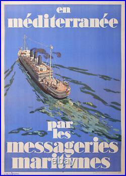 Messagerie Maritime En Méditerranée Par De La Neziere Affiche Ancienne