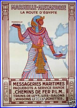 Messageries Maritimes Marseille-Alexandrie Daviel 1924 AFFICHE ORIGINALE ANCIENN