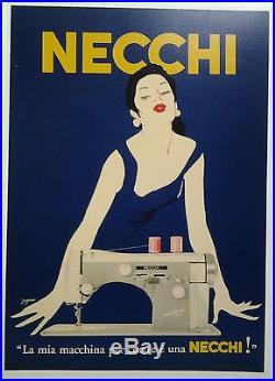 NECCHI macchina per cucire fond bleu AFFICHE ORIGINALE ANCIENNE/AF3