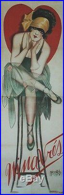 NINA-VRES Affiche originale entoilée Litho Obrad NICOLITCH 1928 69x200cm