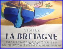 Nathan Garamond Affiche Originale 1956 Visitez La Bretagne Sncf Vintage Print