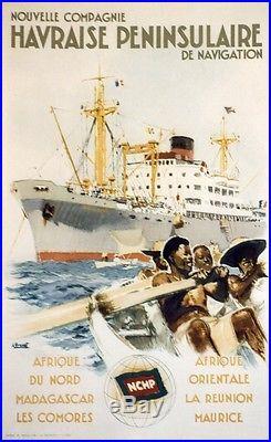 Nlle Cie HAVRAISE de NAVIGATION Affiche originale entoilée Litho BRENET 1950