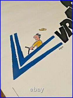 Old Car Poster Voiture Citroen 1983 Signed by Savignac Affiche Vintage