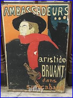 Original Affiche Rare Ambassadeurs Aristide Bruant Henri De Toulouse Lautrec