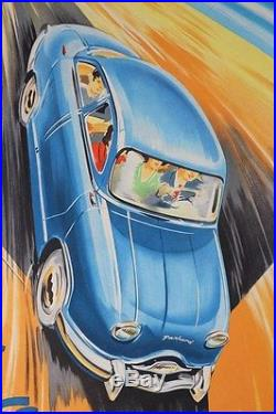 Original POSTER affiche PANHARD DYNA 1954-59 signé Jean BLANCHOT litho AVION