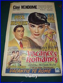 Original ancienne affiche cinéma VACANCE ROMAINES gregory PECK audrey HEPBUURN