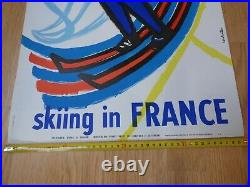 Original poster AFFICHE ANCIENNE Ski SKIING IN FRANCE Constantin 1960