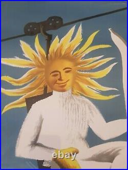 Original poster affiche ancienne ski O SOL PRATICA O SKI EN FRANCA Dubois