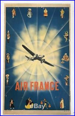 P Chanove Affiche 1935 Aéronautique Air France Original Vintage Poster