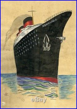 PAQUEBOT NORMANDIE Maquette gouache sur papier 1935 37x51cm