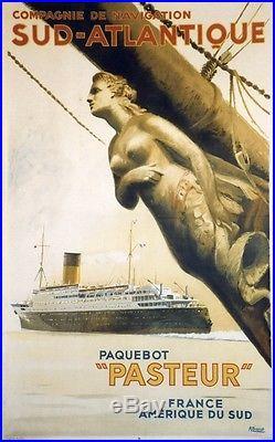PAQUEBOT PASTEUR Affiche originale entoilée Litho 1935 BRENET 66x103cm