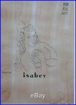 PARFUM ISABEY Maquette encre de Chine sur papier d'après FOUJITA 50x64cm
