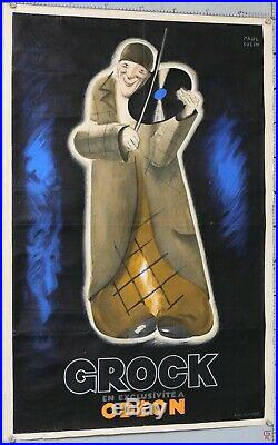 PAUL COLIN AFFICHE ANCIENNE 117x79 cm GROCK DISQUES ODEON Circa 1929