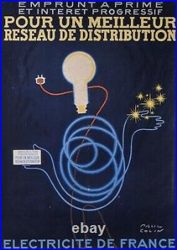 PAUL COLIN Électricité de France, Emprunt. AFFICHE ORIGINALE EN LITHOGRAPHIE
