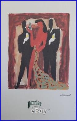 PERRIER L'eau, l'air, la vie Affiche originale entoilée VILLEMOT 1983 44x65cm