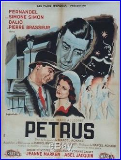 PETRUS Affiche originale entoilée (FERNANDEL, Simone SIMON, Pierre BRASSEUR)
