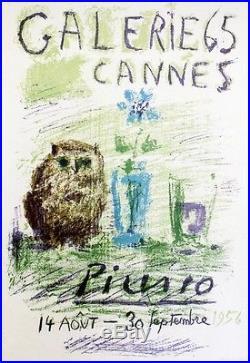 PICASSO (EXPO GALERIE 65 CANNES 1956) Affiche litho originale entoilée