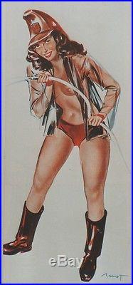 PIN-UP POMPIER Affiche originale entoilée Offset BRENOT 1951 34x73cm