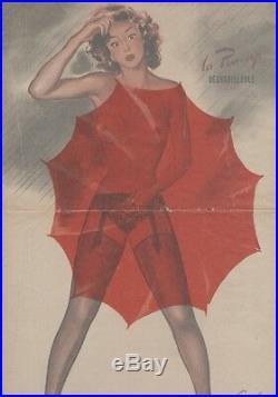 PIN-UP au PARAPLUIE Affiche originale entoilée CAROLS (BRENOT) 1950-51 34x51cm