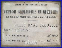 PLAQUE TARIFS DÉJEUNERS DÎNERS Cie INT WAGONS LITS EXPRESS EUROPÉENS CIRCA 1900